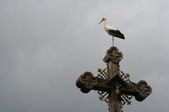 Storch auf einem Kreuz stockbild