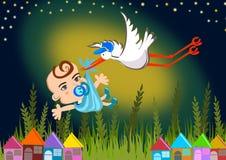 Storch, der ein Schätzchen liefert Lizenzfreie Stockfotos