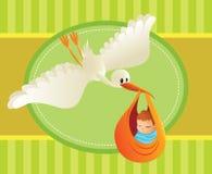 Storch, der eine Schätzchen-Karikatur liefert Stockfotos