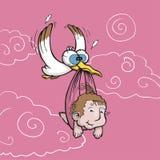 Storch, der neugeborenes Schätzchen trägt Stockbilder