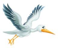 Storch-Fliegen-Karikatur Lizenzfreie Stockfotos