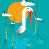 Storch im Sumpf vektor abbildung