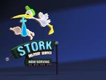 Storch-Lieferungs-Leuchtreklame Stockfoto