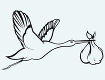 Storch mit Baby lizenzfreie abbildung