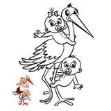 Storch mit Baby-Jungen und Mädchen-Malbuch Comicfigur lokalisiert auf weißem Hintergrund lizenzfreie abbildung