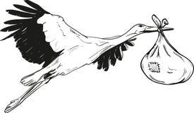 Storch mit Baby-Tasche Stockfotos