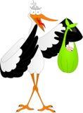 Storch mit einem Kind Lizenzfreies Stockbild