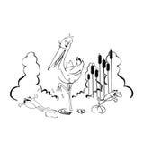 Storch mit Fröschen lizenzfreie abbildung