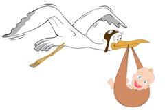 Storch mit Schätzchen Stockfotografie