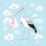 Storch mit Schätzchen lizenzfreie abbildung