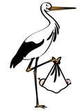 Storch mit Schätzchen Lizenzfreie Stockfotos