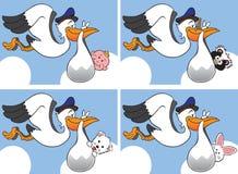 Storch mit vier verschiedenen Schätzchen Lizenzfreie Stockfotografie