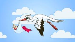 Storch und Baby (nahtlose Schleife) stock video