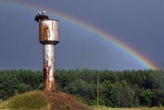 Storchnest auf dem Hintergrund des Regenbogens Stockbild