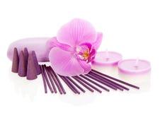 Storczykowy kwiat, aromatyczny set i mydło, Obraz Stock