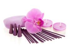 Storczykowy kwiat, aromatyczny set i mydło, Obraz Royalty Free