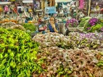 Storczykowy sprzedawca w Bangkok, Tajlandia fotografia royalty free