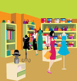 Store. Women shopping some clothes at a big store Royalty Free Stock Images