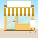 Store. Building with blank board and sign Royalty Free Stock Images