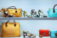 Store. Shop window with bags and shoes Royalty Free Stock Photos