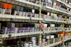 Store. Montreal canadian tire paint product shelfs Royalty Free Stock Photos