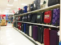 Store aisle. Suitcases and luggage for sale Royalty Free Stock Photography