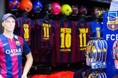 Store of apparel and souvenirs with Football Club Barcelona sym Royalty Free Stock Photos