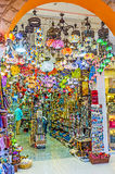 The store of arabian lights. KEMER, TURKEY - MAY 5, 2017: The colorful arabian lights occupied all the sailing of the store in Munir Ozkul Liman street, on May 5 Royalty Free Stock Photo