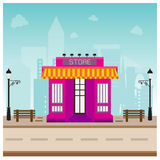 Store building in city space with road blue background Royalty Free Stock Image