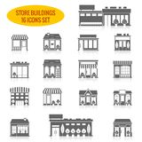 Store building icons set black stock illustration