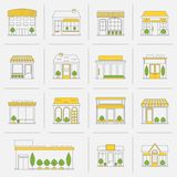 Store building icons set flat line stock illustration