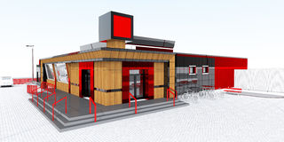 Store building with showcase and billboard Stock Photos