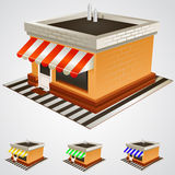 Store building with striped awning. Stock Images