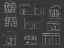 Store buildings chalk vector Stock Photos