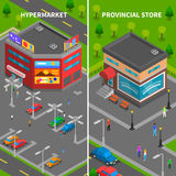 Store Buildings Isometric Vertical Banners Stock Photography