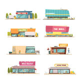 Store Buildings Set. With mall and local shop symbols cartoon isolated vector illustration Royalty Free Stock Photo