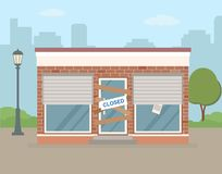 Store or cafe is bankrupt and closed. Facade of building on city background.Flat vector illustration royalty free illustration