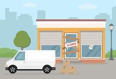 Store or cafe is bankrupt and closed. Facade of building and van on city background. Flat vector illustration vector illustration