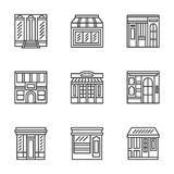 Store and cafe fronts flat line icons. Commercial architecture design symbols. Storefront, facade, showcase, outdoor cafe. Flat black line icons set. Design Royalty Free Stock Photo