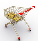 The store cart with gold ingots Stock Photos