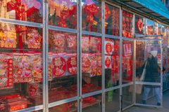 A store in Chinatown selling Chinese New Year decorations, as the Chinese Lunar New Year, the year of the pig, is approaching royalty free stock photo