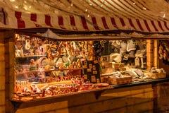 Store at Christmas Markets near old city hall in Riga Stock Photo