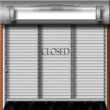 Store Closed. Illustration useful for web site under construction, temporary page holder.  Metalic grid with shade drawn over shopping mall type store front Stock Image