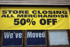 Store closing. Everything must go. 50% off royalty free stock photos