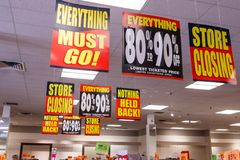 Anderson - Circa April 2018: Store Closing and huge discount signs displayed at a soon to be out of business Bon-Ton I stock image