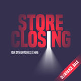 Store closing sale vector illustration, background with open door Royalty Free Stock Images