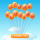 Store closing vector illustration, background with balloons. Template banner, design element for clearance sale Stock Photography