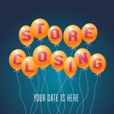 Store closing vector illustration, background with balloons. Template banner, flyer for clearance sale Stock Photos