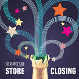 Store closing vector illustration, background with bottle of champagne and decorative swirls Stock Images