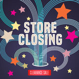 Store closing vector illustration, background with firework and decorative elements. Template banner, design for clearance sale Stock Photos
